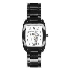 Domestically Disabled Stainless Steel Barrel Watch