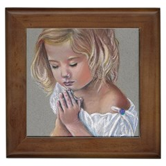Prayinggirl Framed Ceramic Tile