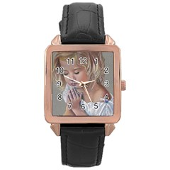 Prayinggirl Rose Gold Leather Watch