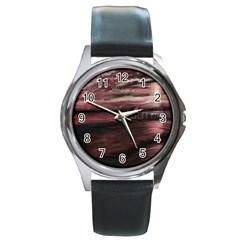 Pier At Midnight Round Leather Watch (silver Rim)