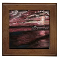 Pier At Midnight Framed Ceramic Tile
