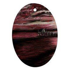 Pier At Midnight Oval Ornament