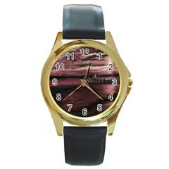 Pier At Midnight Round Leather Watch (Gold Rim)