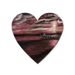Pier At Midnight Magnet (heart)