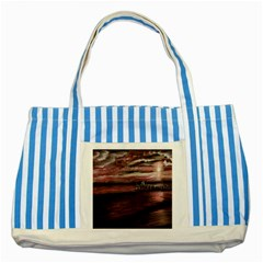 Pier At Midnight Blue Striped Tote Bag