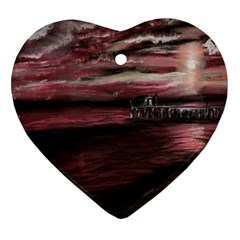 Pier At Midnight Heart Ornament (Two Sides)