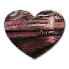 Pier At Midnight Mouse Pad (Heart)