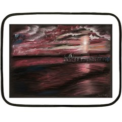 Pier At Midnight Mini Fleece Blanket (Two Sided)