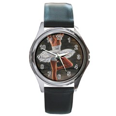 Ballet Ballet Round Leather Watch (Silver Rim)