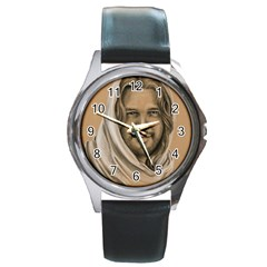 Messiah Round Leather Watch (Silver Rim)