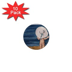 Mom s White Hat 1  Mini Button Magnet (10 pack)