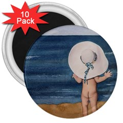 Mom s White Hat 3  Button Magnet (10 pack)