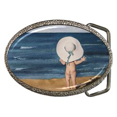 Mom s White Hat Belt Buckle (Oval)