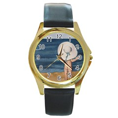 Mom s White Hat Round Leather Watch (gold Rim)