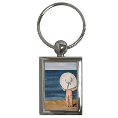 Mom s White Hat Key Chain (Rectangle)
