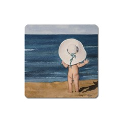 Mom s White Hat Magnet (square)