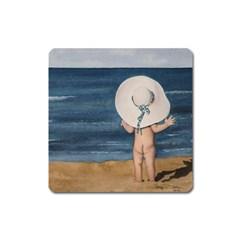 Mom s White Hat Magnet (Square)