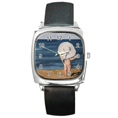 Mom s White Hat Square Leather Watch