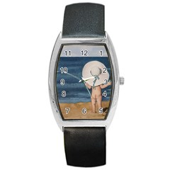 Mom s White Hat Tonneau Leather Watch