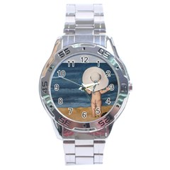 Mom s White Hat Stainless Steel Watch