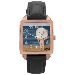 Mom s White Hat Rose Gold Leather Watch