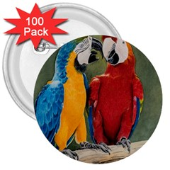 Feathered Friends 3  Button (100 pack)