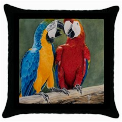Feathered Friends Black Throw Pillow Case