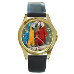 Feathered Friends Round Leather Watch (gold Rim)