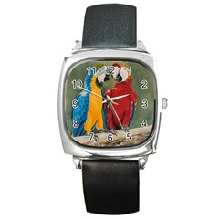 Feathered Friends Square Leather Watch