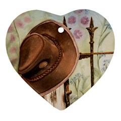 Hat On The Fence Heart Ornament