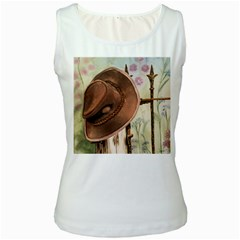 Hat On The Fence Women s Tank Top (White)