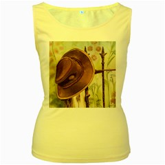Hat On The Fence Women s Tank Top (Yellow)