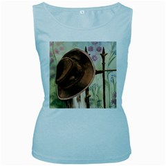 Hat On The Fence Women s Tank Top (Baby Blue)