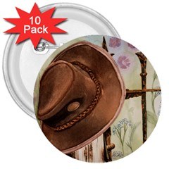 Hat On The Fence 3  Button (10 pack)