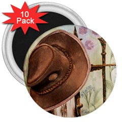 Hat On The Fence 3  Button Magnet (10 pack)