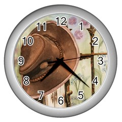 Hat On The Fence Wall Clock (silver)