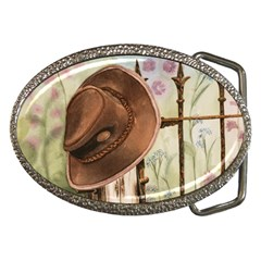 Hat On The Fence Belt Buckle (oval)