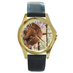 Hat On The Fence Round Leather Watch (gold Rim)