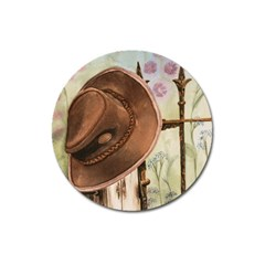 Hat On The Fence Magnet 3  (Round)