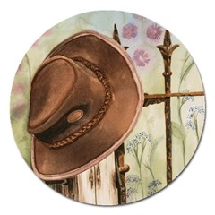 Hat On The Fence Magnet 5  (Round)