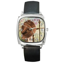 Hat On The Fence Square Leather Watch