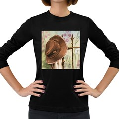 Hat On The Fence Women s Long Sleeve T-shirt (Dark Colored)