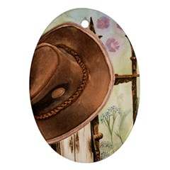 Hat On The Fence Oval Ornament (two Sides)