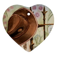 Hat On The Fence Heart Ornament (two Sides)