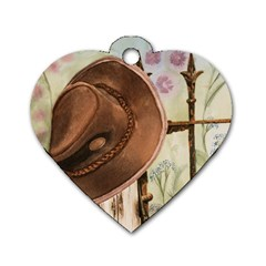 Hat On The Fence Dog Tag Heart (Two Sided)