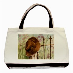 Hat On The Fence Twin-sided Black Tote Bag