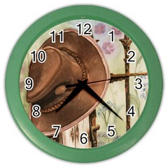 Hat On The Fence Wall Clock (Color)