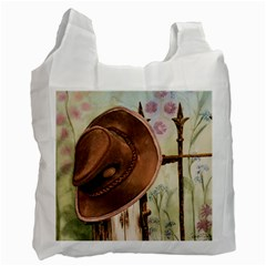 Hat On The Fence White Reusable Bag (One Side)