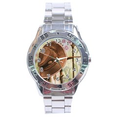Hat On The Fence Stainless Steel Watch