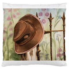 Hat On The Fence Large Cushion Case (two Sided)